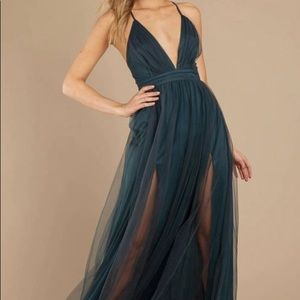 Forest green tulle maxi dress gown Tobi
